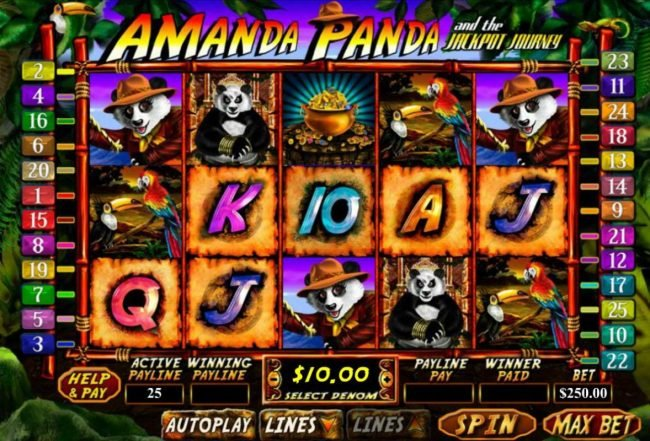 Miami Club featuring the Video Slots Amanda Panda and the Jackpot Journey with a maximum payout of $15,000