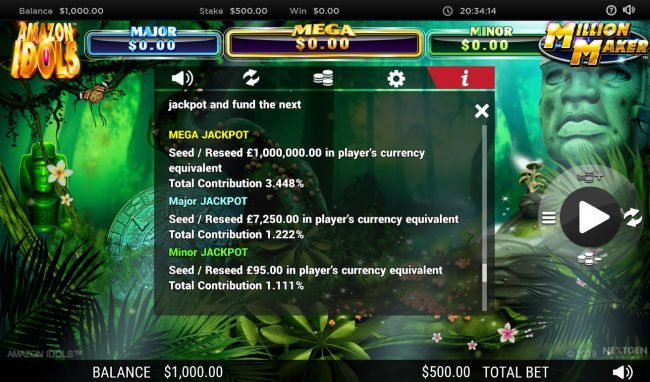 Euro King featuring the Video Slots Amazon Idols Million Maker with a maximum payout of $1,000,000