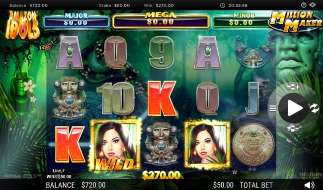 BGO Vegas featuring the Video Slots Amazon Idols Million Maker with a maximum payout of $1,000,000