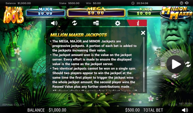 Grand Ivy featuring the Video Slots Amazon Idols Million Maker with a maximum payout of $1,000,000