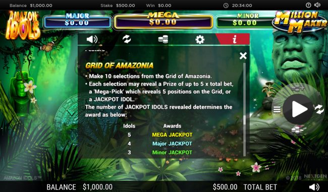 Leo Vegas featuring the Video Slots Amazon Idols Million Maker with a maximum payout of $1,000,000