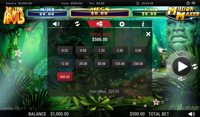 Instacasino featuring the Video Slots Amazon Idols Million Maker with a maximum payout of $1,000,000