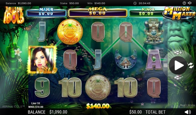 Lucky Dino featuring the Video Slots Amazon Idols Million Maker with a maximum payout of $1,000,000