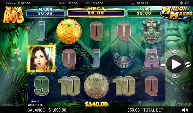 Africa Casino featuring the Video Slots Amazon Idols Million Maker with a maximum payout of $1,000,000