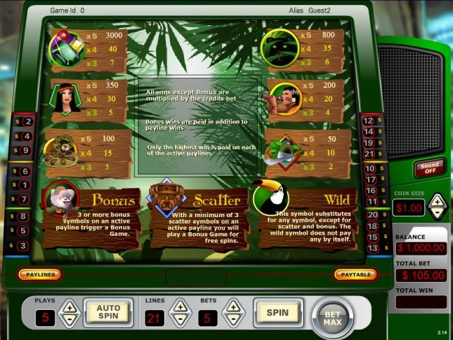 Vegas Crest featuring the Video Slots Amazon Quest with a maximum payout of $3,000