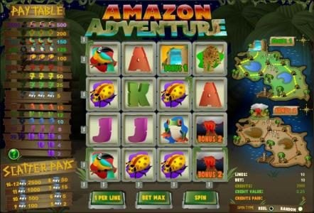 Play slots at TS: TS featuring the Video Slots Amazon Adventure with a maximum payout of $2,500