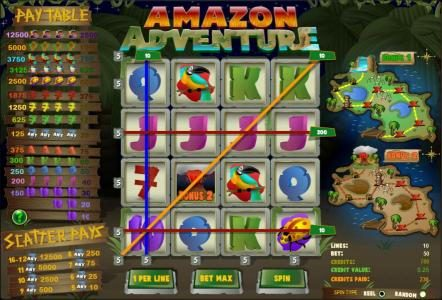 888 Casino featuring the Video Slots Amazon Adventure with a maximum payout of $2,500
