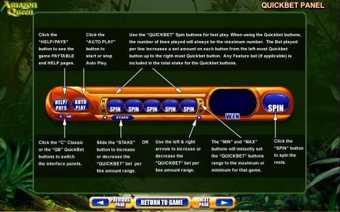 Amazon Queen :: Quickbet Panel layout and description