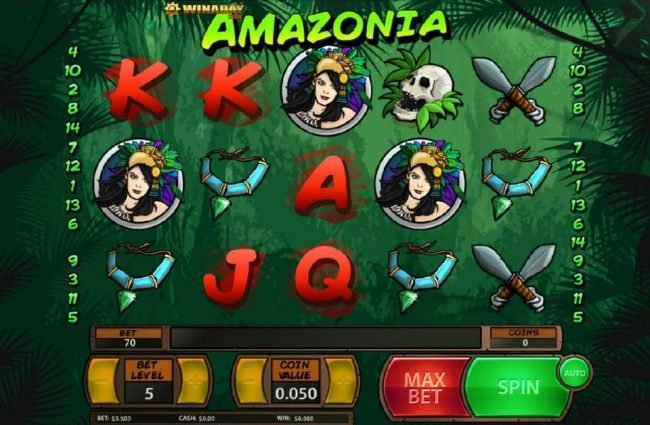 Play slots at Slotland: Slotland featuring the Video Slots Amazonia with a maximum payout of $125