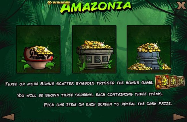 Winaday featuring the Video Slots Amazonia with a maximum payout of $125