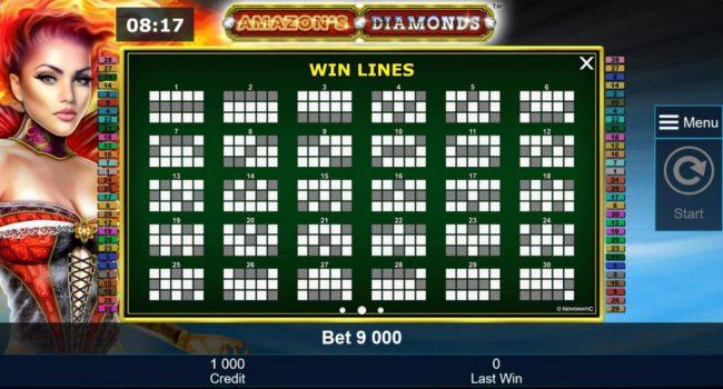 Amazon's Diamonds :: Win Lines 1-30