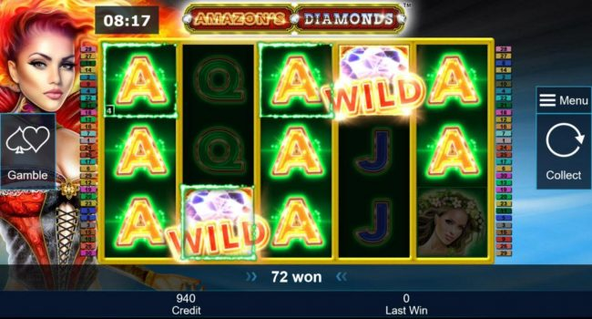 Amazon's Diamonds :: A pair of wild symbols triggers multiple winning paylines