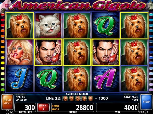 Orientxpress featuring the Video Slots American Gigolo with a maximum payout of $30,000