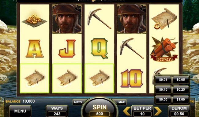 American Gold Rush :: Main game board featuring five reels and 243 ways to win with a $25,000 max payout.