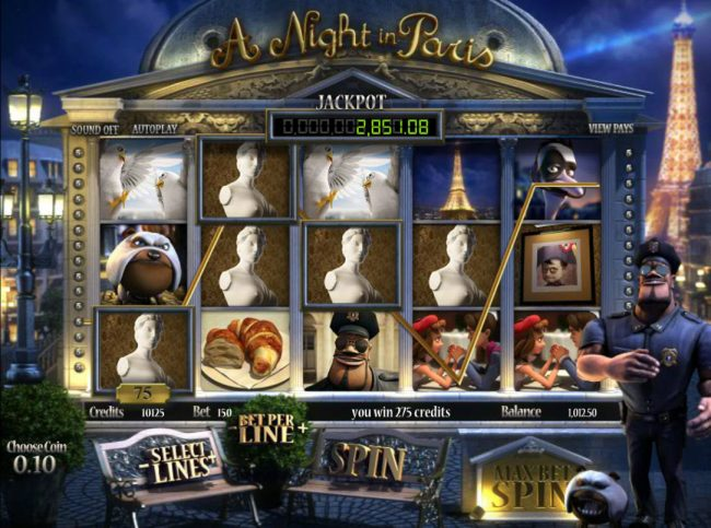 Play slots at Go Wild: Go Wild featuring the Video Slots A Night in Paris Jackpot with a maximum payout of Jackpot