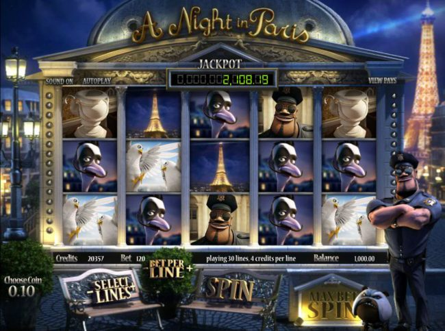 365 Bet Bit featuring the Video Slots A Night in Paris Jackpot with a maximum payout of Jackpot