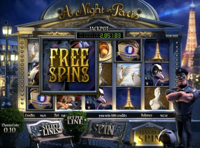 Split Aces featuring the Video Slots A Night in Paris Jackpot with a maximum payout of Jackpot