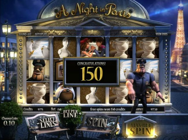 007 Slots featuring the Video Slots A Night in Paris Jackpot with a maximum payout of Jackpot