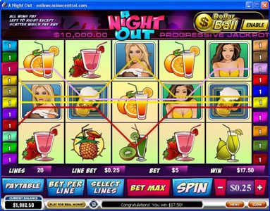 50 Stars featuring the Video Slots A Night Out with a maximum payout of $100,000