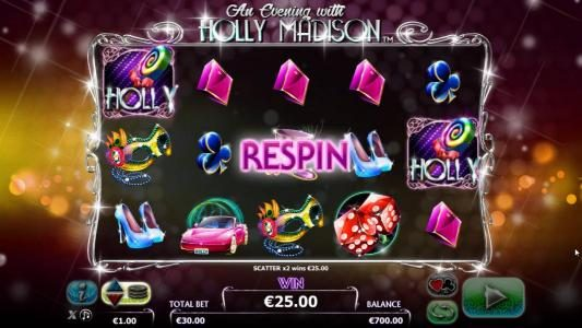 Two Holly symbols triggers the re-spin feature. reels 2, 3 and 4 will re-spin