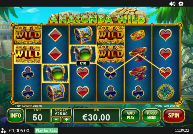Titanbet.it featuring the Video Slots Anaconda Wild with a maximum payout of $50,000