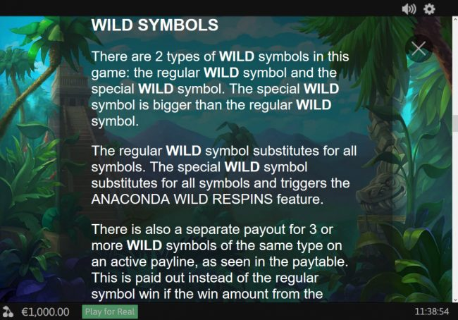 Anaconda Wild :: Wild Symbol Rules