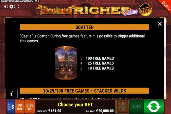 Ancient Riches Casino Red Hot Firepot :: Scatter Symbol Rules
