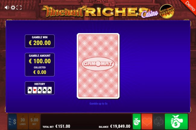 Ancient Riches Casino Red Hot Firepot :: Red or Black Gamble feature