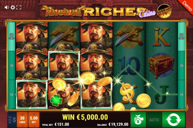 Ancient Riches Casino Red Hot Firepot :: Multiple winning paylines triggers a big win
