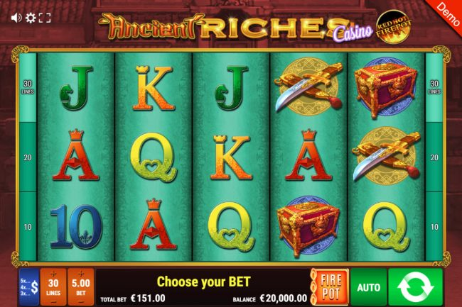 Ancient Riches Casino Red Hot Firepot :: Main Game Board
