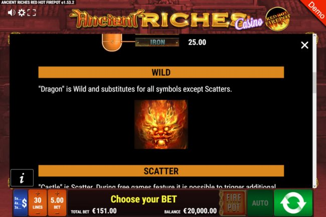 Ancient Riches Casino Red Hot Firepot :: Wild Symbol Rules