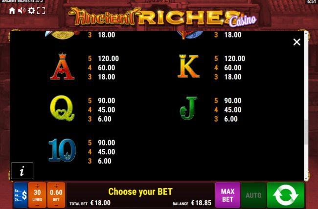Ancient Riches Casino :: Low Value Symbols