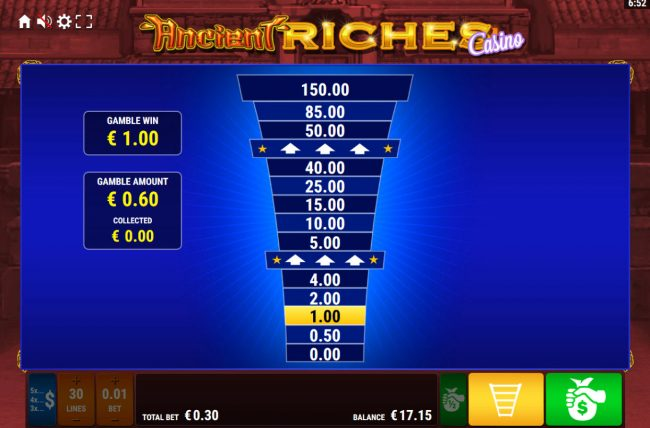 Ancient Riches Casino :: Ladder Gamble Feature Game Board