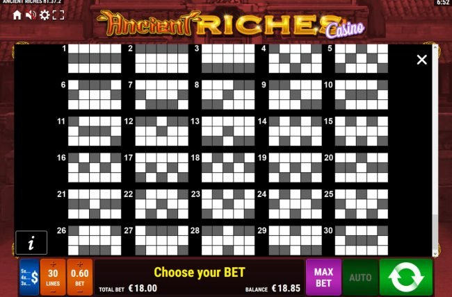 Ancient Riches Casino :: Paylines 1-30