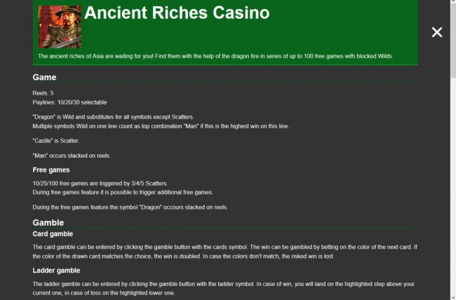 Ancient Riches Casino :: General Game Rules