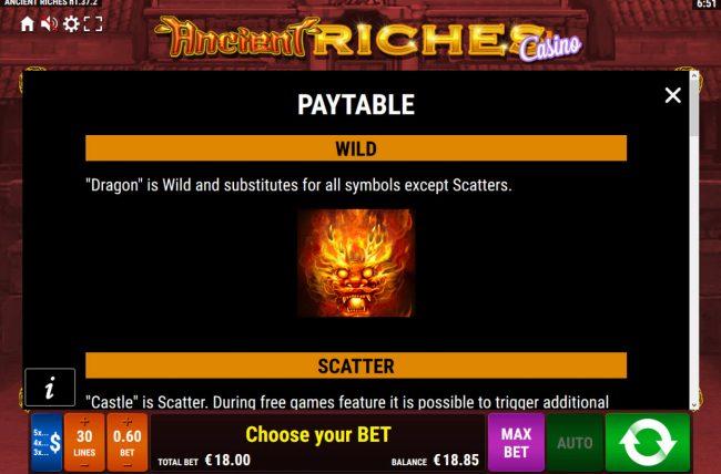 Ancient Riches Casino :: Wild Symbol Rules