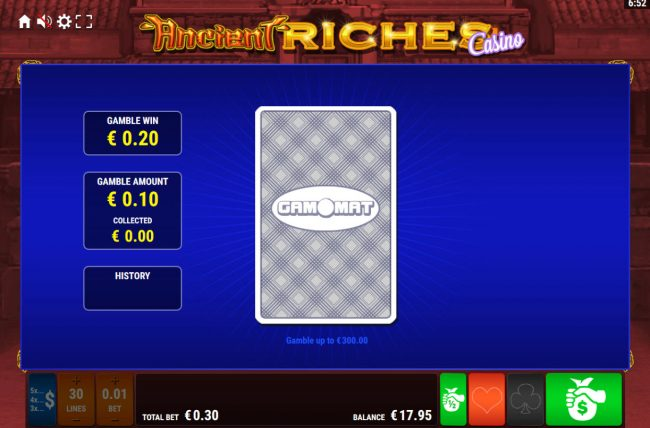 Ancient Riches Casino :: Card Gamble Feature Game Board