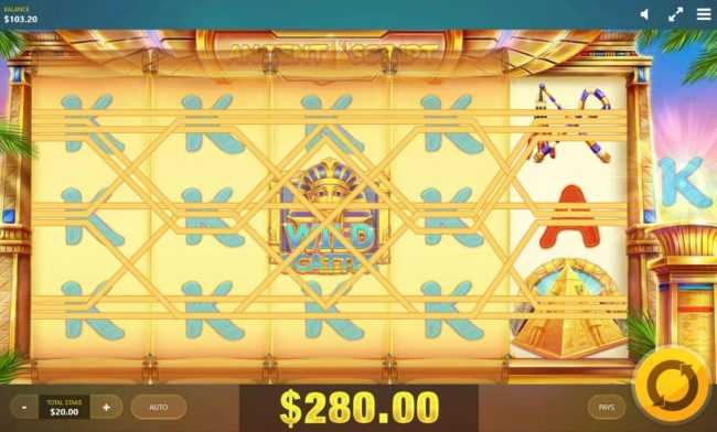 Jonny Jackpot featuring the Video Slots Ancient Script with a maximum payout of $10,000