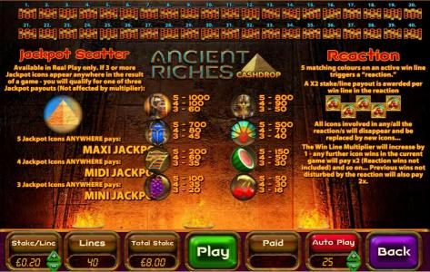 Gorilla featuring the Video Slots Ancient Riches Cash Drop with a maximum payout of Jackpot