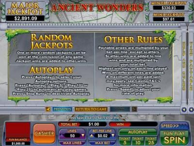 Slot Madness featuring the Video Slots Ancient Wonders with a maximum payout of $5,000