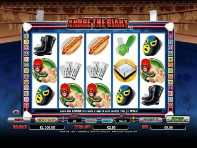 Play slots at HippoZino: HippoZino featuring the Video Slots Andre the Giant with a maximum payout of $10,000
