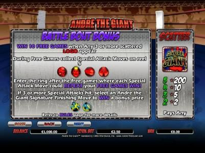 scatter and battle bout bonus feature game rules