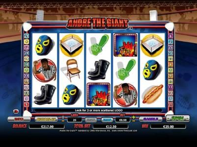 Casino Red Kings featuring the Video Slots Andre the Giant with a maximum payout of $10,000