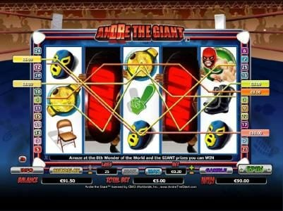 a $90 jackpot triggered by multiple winning paylines