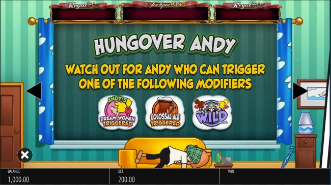 Yeti Casino featuring the Video Slots Andy Capp with a maximum payout of $250,000