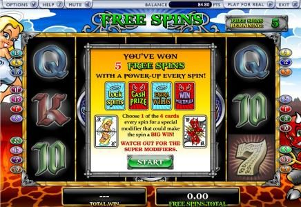 you won 5 free spins with a power-up every spin