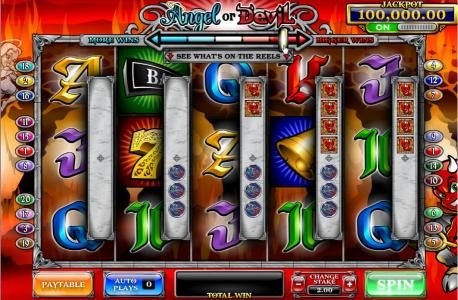 Slots Heaven featuring the Video Slots Angel or Devil with a maximum payout of 4,000x