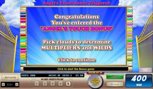 Rose Slots featuring the Video Slots Angels Touch with a maximum payout of $40,000