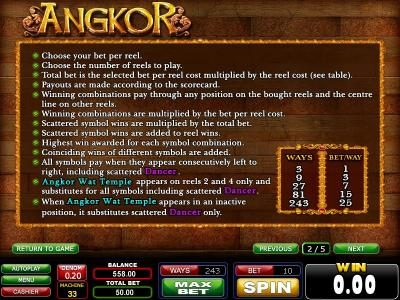 Casinoval featuring the Video Slots Angkor with a maximum payout of $750