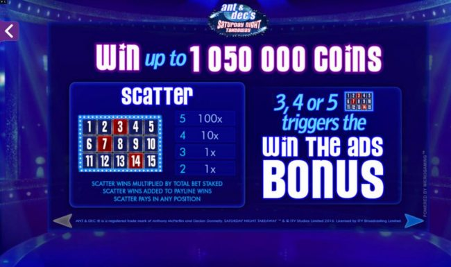 Win up to 1,050,000 coins! 3, 4 or 5 scatters triggers the Win the ads Bonus.